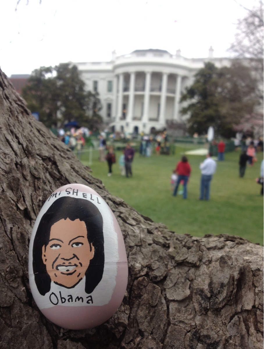 tomhanksy:  Snuck a bunch of these into the White House Easter egg hunt today. Hid them all over Obama's front lawn.