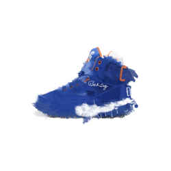 Blue Patrick EWing trainers graphic design