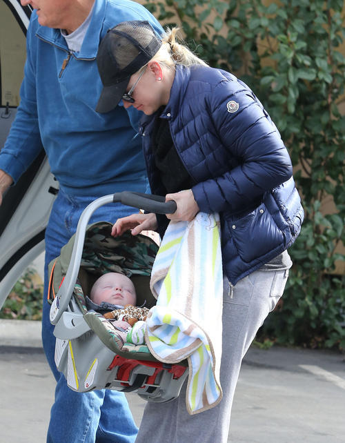 Anna Faris out with her father and son Jack in Studio City.