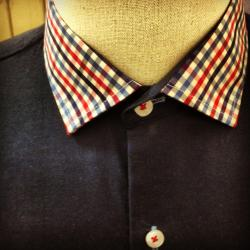 Gingham collar on a solid colored shirt by Franc Lloyd - Custom Menswear