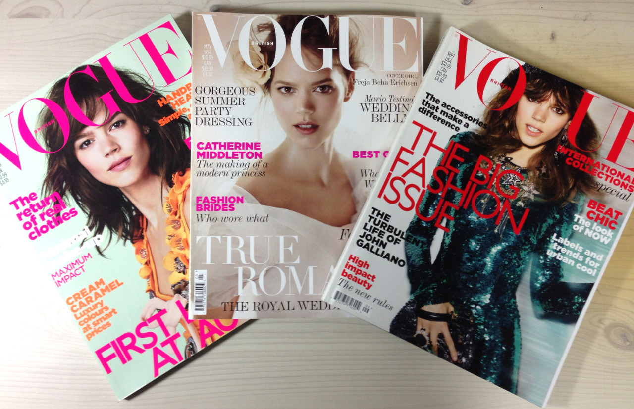 The one and only Freja Beha's Vogue UK covers.