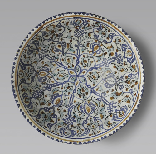 Bowl with radial interlace design, Iran, Kashan, Seljuk-Atabeg period, late 12thearly 13th century - In Harmony: The Norma Jean Calderwood Collection of Islamic Art