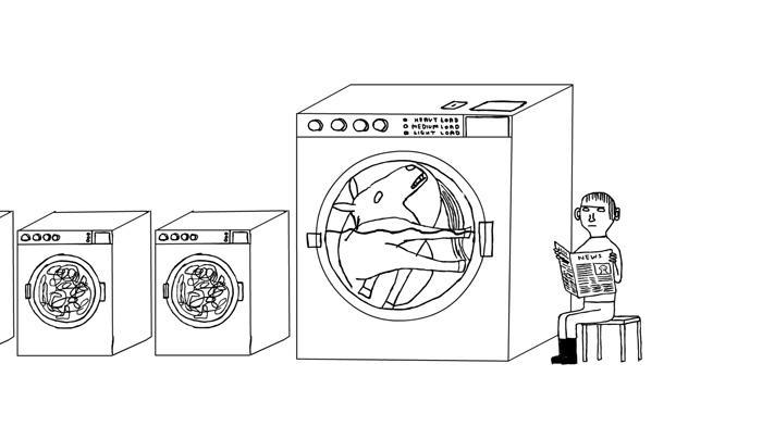 David Shrigley Laundry, (animation still) 2006 Animation, DVD  2:44 min