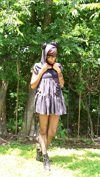 blackfashion:  Kelsey Lex, 22, Pasadena, Tx Handmade inverted cross bear hoodie: Kelsey Lex @ Technicolor Trashion http://technicolortrashion.tumblr.com/ Twitter: @technitrash