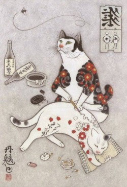 Cats tattooing other cats by Kazuaki HoritomoMore: http://www.spoon-tamago.com/2016/12/13/cats-tattooing-other-cats-by-kazuaki-horitomo/