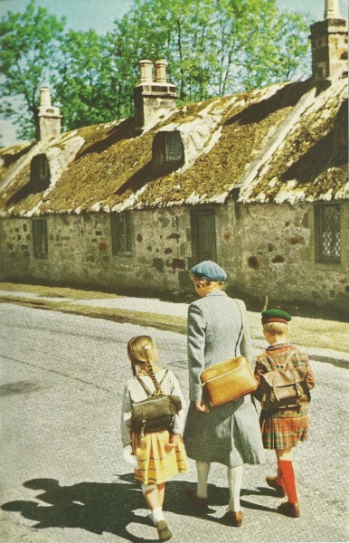 Kids coming home from school in Kinloss, Scotland National Geographic | July 1956
