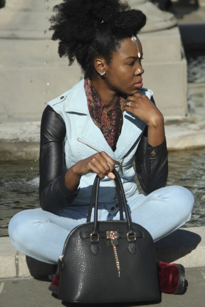 blackfashion:  Jacket - Forever21, Pants - American Apparel easy jeans, Boots - H&M, Purse - Aldo Tanya, Brooklyn,NY clothesconscienceblog.wordpress.com