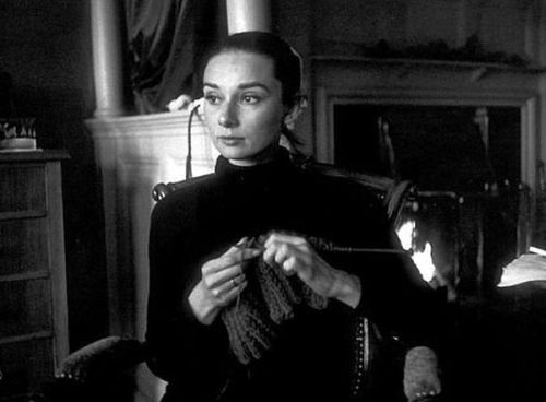 Audrey doing a spot of knitting