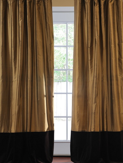 linendrapes:  Banded Thai Silk With Velvet Curtainshttp://shrsl.com/?~37dw