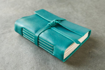 Teal Leather Journal by badgerandchirp