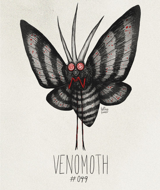 Venomoth #049 Part of The Tim Burton x PKMN Project By Vaughn PinpinVenomoth was flipping boss.