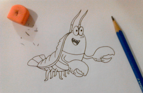 Lobster drawing! Haha! Oh noooo… he looks like a cockroach. D: