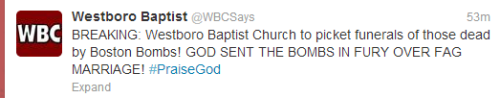 dcresistance:  EVERYONE REBLOG THIS. SPREAD THIS AROUND. Westboro is planning to picket the funerals of those whose lives were taken by the explosions in Boston. Remember what the bikers did for the funerals of the children who attended Sandy Hook Elementary? Let's do that again. Don't let Westboro spread their hate and ignorance.