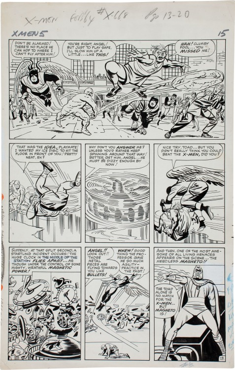 A page from UNCANNY X-MEN #5 by Jack Kirby and Paul Reinman. In the final panel, you can tell that the letterer tried to fit Magneto's balloon in at the upper right, but couldn't manage it, so the incomplete balloon needed to be whited out.