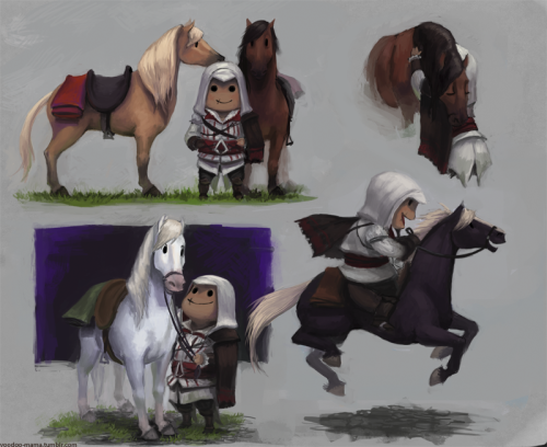 Petit Ezio à cheval colored sketchessssDone in pencil and colored digitally.I was planning on doing an illustration, when I get the time,of petit Ezio riding a horse but first I had to figure out how to draw petit horses.