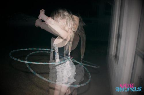 I got really drunk on Friday night and someone made me hula hoop. Too much jager and a kids size hoop didn't work but it made for a cool photo! My 80's swimsuit rulez