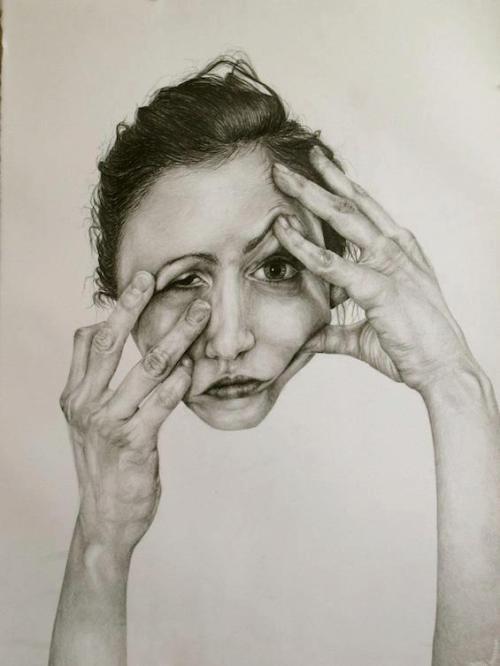 "rfmmsd:  Artist: Gillian Lambert Part of the ""Self Deception"" Series ""Hands""  Graphite on Paper, 22"" x 30"" 2011"