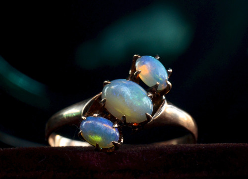 eriebasin:  1900s Three Opal Ring, 10K Gold, $285