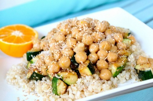 "Meatless Monday: Orange Glazed Chickpeas with Sesame Grilled Zucchini  Back when ""Meatless Mondays"" were officially invented during WWI, the powers that be only considered beef, pork, and lamb and mutton to be meat. For a number of varied and modern reasons, we count poultry and fish, too.  So for our new Meatless Monday recipe series, we're looking to non-animal sources of protein, and this recipe for chickpeas and veggies fit the bill perfectly. This recipe comes courtesy ofThe Diva Dish — enjoy!"