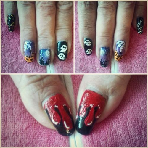 my Mums Halloween Nails