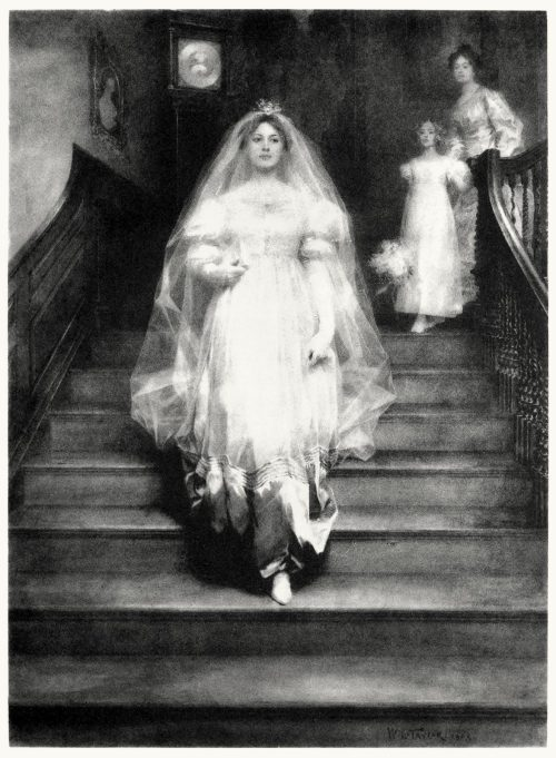 The old clock on the stairs.  William Ladd Taylor, from Our home and country, introduction by William Howe Downes, New York, 1908.  (Source: archive.org)