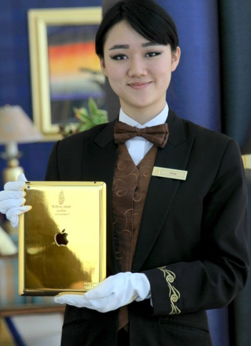 Burj Al Arab in Dubai Introduces Gold-Plated iPads for Guest Use by Jordan Golson, macrumors.com The Burj Al Arab hotel in Dubai is per­haps the world's most lux­u­ri­ous hotel, and the lat­est addi­tion con­tin­ues that tra­di­tion. The seven-star hotel is now giv­ing 24-carat gold-plated iPads from Gold & Co to guests for use dur­ing their…