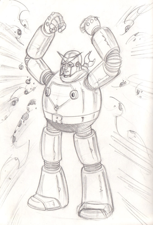 Another sketch of ROBORG. Obvious Tetsujin-28 homage/rip-off is obvious.