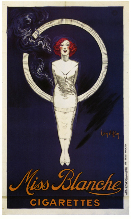 Miss Blanche Cigarettes (by paul.malon) Poster by Jean d'Ylen, 1927.