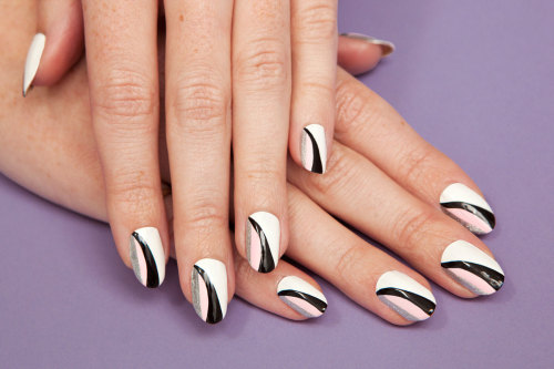 Use pale pink and jet black polishes for a sweet and edgy manicure inspired by the Dior runway »