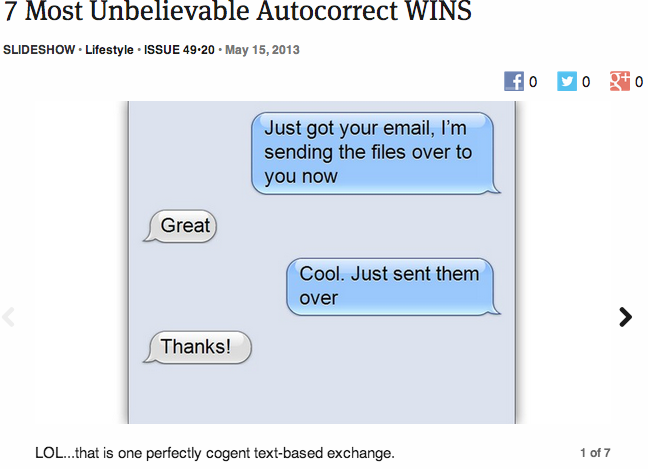 theonion:  7 Most Unbelievable Autocorrect WINS: Full Slideshow
