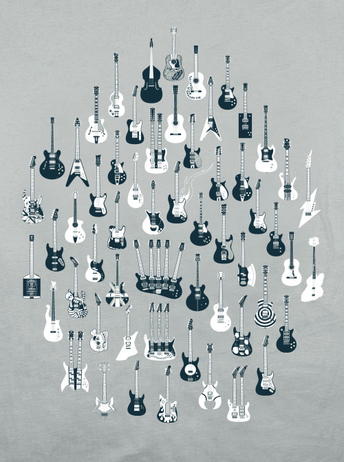 A Visual Compendium of Guitars A catalog of famed guitars culled from over 75 years of rock 'n' roll history. [Available as a tshirt or a print.]