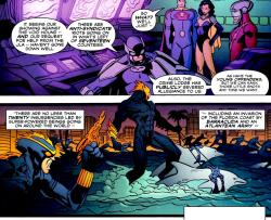 owlmanprime:   //I love the top panel because it implies that there are Earth-3 versions of the Teen Titans and the Justice Society.  Superwoman supervises while the men worry.