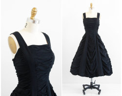 ahhhhhhhhhh-mazzzzzzzzzzzzing! vintage black rayon ruched party dress @rococovintage on etsy