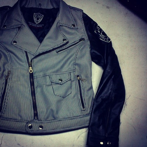 DOGTOOTH BODY AND LEATHER SLEEVE GIRLS BIKER JACKET SNEAK LOOK. #COMINGSOON JAN2013 #aw12 #f2dclothing #f2d #fashion #style #streetwear #dogtooth #houndstooth #bikerjacket #instafashion #hiphop #swag #sick #dope #UK #ladies #women #girls #motorjacket