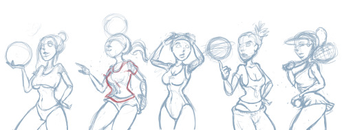 Sporty Girl Pin Up sketches. A pin up series I'll be working on.