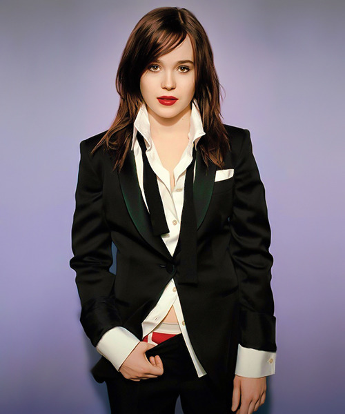 inversionaddict:  ELLEN PAGE IN A SUIT AND BOXERS