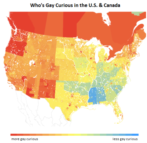 "stethoscopesandsigs:  upworthy:  The Gay Experimental State Of Your Straight State  OKCupid ran a data analysis on their 4,000,000 users and figured out how bi-curious straight people are from state to state. What's the state of your state? We are apparently kind of bi here. [Original by OkCupid. You should really read the whole post because it's fascinating. Found on KNOWHomo.]   /goes to Oregon Also super interesting article, even if the parameters of the sample make it overly generalized. Go to the ""Gay People Like:"" and click the female icon. Then die laughing.  pretty interesting. Obviously a biased pool of people, because it's a particular dating site and stuff, but still interesting."