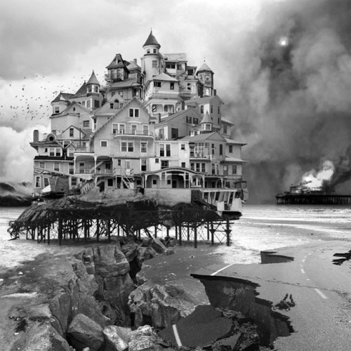 Without the use of a camera Portland-based artist Jim Kazanjian sifts through a library of some 25,000 images from which he carefully selects the perfect elements to digitally assemble mysterious buildings born from the mind of an architect gone mad. While the architectural and organic pieces seem wildly random and out of place, Kazanjian brings just enough cohesion to each structure to suggest a fictional purpose or story that begs to be told. You can see much more of his work over on Facebook, and prints are available at 23 Sandy Gallery.  (via An Architect Gone Mad: Mysterious Buildings Assembled from Found Photographs by Jim Kazanjian | Colossal)