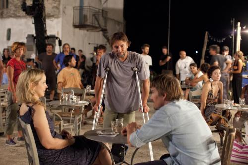 Julie Delpy, Richard Linklater and Ethan Hawke on-set of Before Midnight (2013)