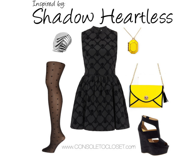 Shadow Heartess (Kingdom Hearts) by ladysnip3r    Topshop - High Neck Flocked Skater Dress ($56)/ Dorothy Perkins - Black Diamond Heart Tights ($12)/ Asos - River Island Eager Black Strappy Platform Wedges ($86)/ Yesstyle - Life 8 Leather Bag ($70)/ Piperlime - Kate Spade New York Jewel Bar Locket ($60)/ Dorothy Perkins - Layered Silver Tone Ring ($14)   This outfit is inspired by the Shadow Heartless from Kingdom Hearts. Since they're primarily black, I wanted to use different textures to avoid looking monotonous. I found a really cool and gothic looking dress, which I think fits perfectly with the style of the game. I paired that with printed tights that have little hearts on them and black suede wedges. I also wanted to highlight the Shadow Heartless' spiky look, so I chose a silver ring that reminds me of scales. Lastly, I wanted to show the Shadow Heartless' beady yellow eyes. I found a beautiful yellow necklace and matching purse. This outfit is super dramatic and it would be perfect for a night out.   Reference: