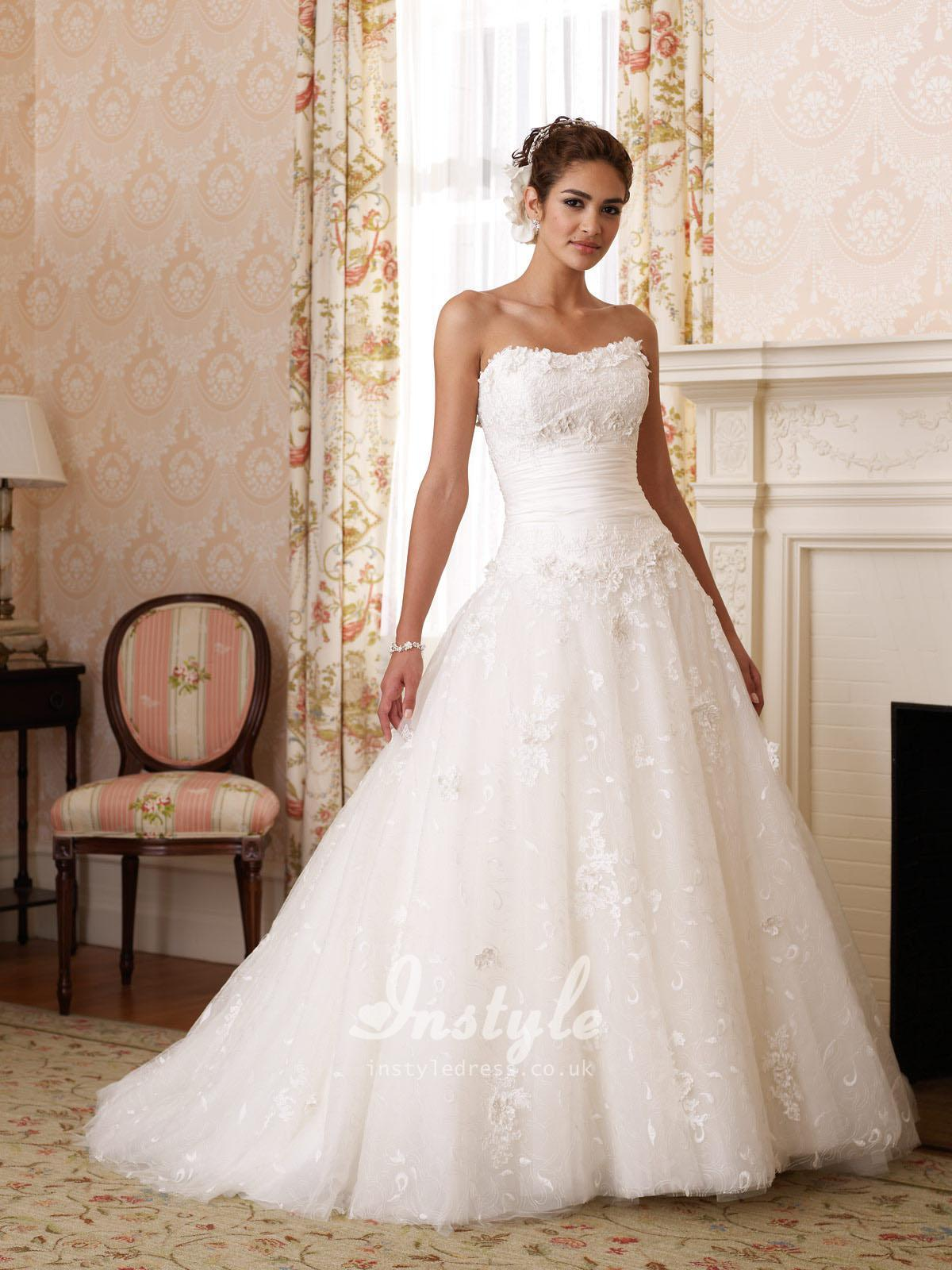 Lace Over Taffeta Strapless Ball Gown Wedding Dress UK