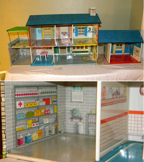~ 1962 Marx metal dollhouse — with a fallout bomb shelter via Retro Renovation