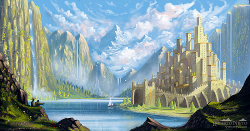 awesomedigitalart:  Lake Village by *Syntetyc