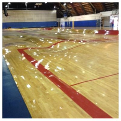 throughthexhole:  deadlinejon:  stunningpicture:  This is what happens to a basketball court when the pipes burst  this is the greatest basketball challenge of all time   Space Jam 2 is looking great