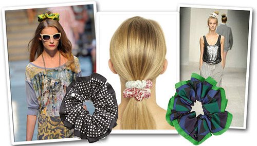 Yikes! The Return of The Scrunchie I love a good '90s throwback just as much as the next girl—Saved by the Bell, Spice Girls, Buffy, andthe list goes on. The scrunchie, however, is one '90s phenomenon that I don't have any nostalgia for and I'm not keen for the trend to make a comeback.   But designers have something different in mind. Vivienne Westwood, Marc Jacobs, Ashish—they all are putting their support behind this flamboyant hair accessory. And scunchies have even been cropping up in more price-friendly stores like Topshop and Asos too, which makes me wonder: Will the scrunchie make a return to the mainstream?  While I won't be embracing this style anytime soon, I totally recognize that many people out there have been waiting for this day to come. What are your feelings on this '90s-girl look? Are you pro or con? If you're interested in getting one for yourself, check out these options, just please promise me you won't go spending $95 on this one from Missoni. —Ashley Get more '90s-glam inspiration from the epic Katie Holmes + Bobbi Brown makeup collection! (Photo: SheFinds.com)