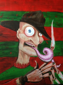 """Are you ready?"" Freddy Krueger twisted portrait  - 18x24"" acrylic on Masonite."