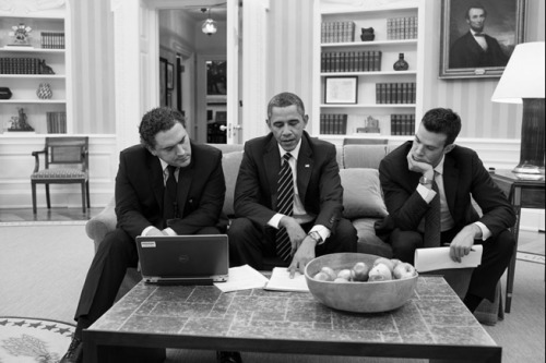 apsies:   President Barack Obama meets with Cody Keenan, Deputy Director of Speechwriting, left, and Jon Favreau, Director of Speechwriting, in the Oval Office, Feb. 5, 2013. (Official White House Photo by Pete Souza)  This picture is relevant to my interests for reasons.  Hey, we know them…
