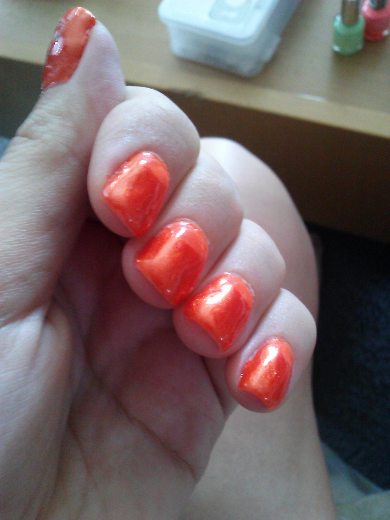 Orange half moon mani. I am just not into it.