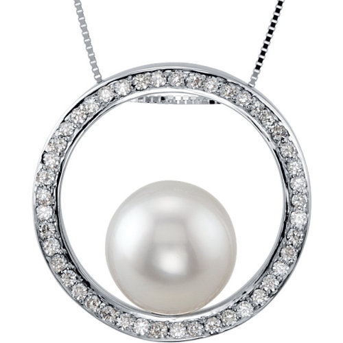 Diamond & Pearl Infinity Circle Pendant Necklace! Available at Houston Jewelry!