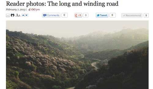 One of my photos was featured on the L.A. Times blog today, so that was a nice thing that happened to me. It wa